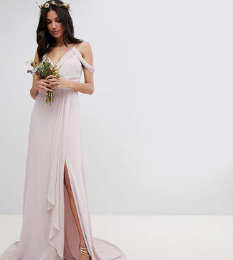 TFNC Tall Tall Cold Shoulder Wrap Maxi Bridesmaid Dress With Fishtail