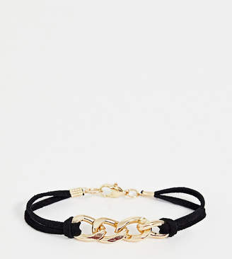 Glamorous cord leather bracelet with gold interlinking chain