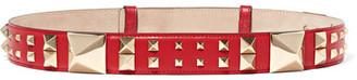 The Rockstud Leather Belt - Red