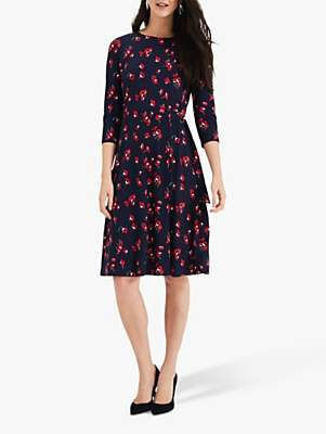 Phase Eight Livi Floral Print Dress, Navy/Red