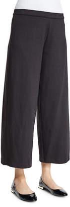 Joan Vass Easy Wide-Leg Ankle Pants, White, Petite