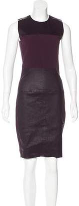 Narciso Rodriguez Leather-Paneled Sheath Dress