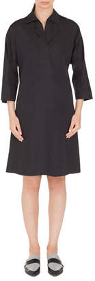 Akris Punto V-Neck Bracelet-Length Cotton Knee-Length Dress