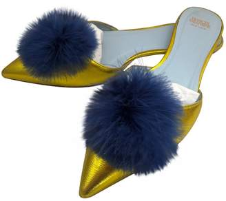 Frances Valentine Yellow Leather Mules & Clogs
