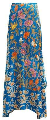Peter Pilotto Botanical Print Hammered Silk Blend Maxi Skirt - Womens - Blue Multi