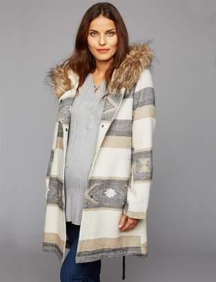 BB Dakota Faux Fur Trim Maternity Jacket