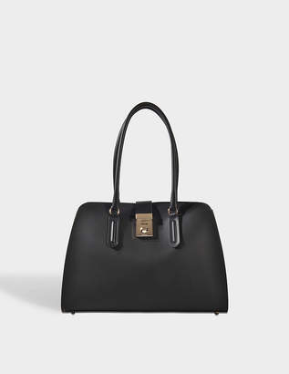 Furla Milano Whitney Bag in Onyx Grained Calfskin Leather