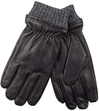 Dockers Fleece Lined Leather Glove with Heathered Knit Cuff