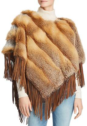 Maximilian Furs Suede-Trim Red Fox Fur Poncho - 100% Exclusive