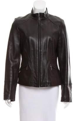 Calvin Klein Leather Zip-Up Jacket