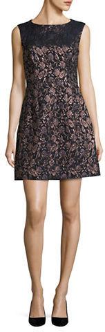 Betsey JohnsonBetsey Johnson Floral Jacquard Sleeveless A-Line Dress