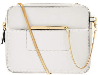 Halston H by Smooth Leather Crossbody Bag withDouble Zippers