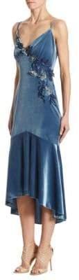 Theia Appliqued Velvet Trumpet Dress