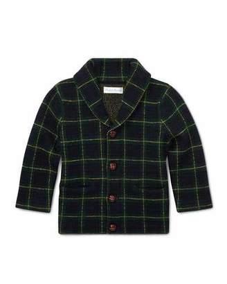 Ralph Lauren Merino Wool Shawl-Collar Windowpane Cardigan Sweater, Size 6-24 Months