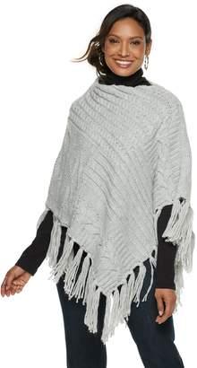 Chaps Women's Patchwork Knit Poncho