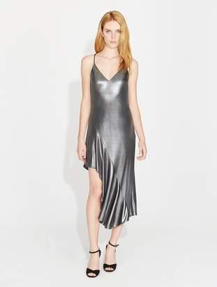 Halston Asymmetric Skirt Metallic Jersey Dress