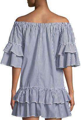 Romeo & Juliet Couture Ruffle-Tiered Striped Shift Dress