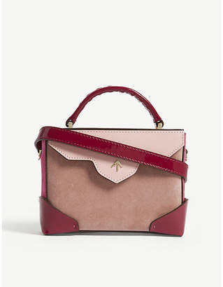 Atelier Manu Ladies Rose Gold and Fuchsia Pink Micro Bold Combo Leather Suede Shoulder Bag