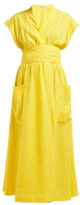 Three Graces London Clarissa Linen Wrap Midi Dress - Womens - Yellow