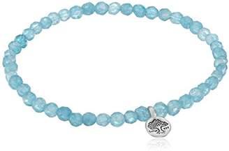 Satya Jewelry Angelite Sterling Silver Tree of Life Stretch Bracelet