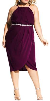 City Chic Plus Sleeveless Chain-Belt Dress