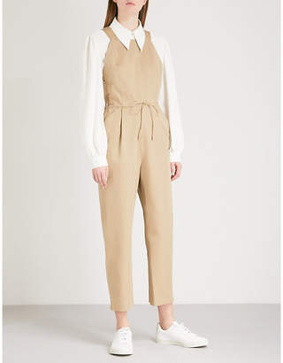 Maje Peplin cotton-twill jumpsuit
