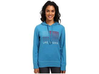 Life is Good Flag Stripe Go-To Pullover Hoodie Women's Sweatshirt