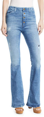 Fly London Acynetic Friya Sharon Gene Mid-Rise Flare-Leg Jeans with Exposed