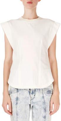Isabel Marant Yelena Cap-Sleeve Tee with Keyhole Back