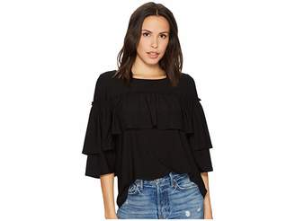 Kensie Subtle Slub Tees Top KS1K3610 Women's Clothing