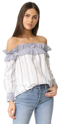 ENGLISH FACTORY Stripe Long Sleeve Off Shoulder Top $87 thestylecure.com