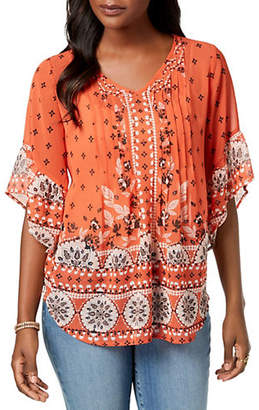 Style&Co. STYLE & CO. Printed Bell-Sleeve Top