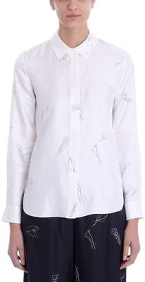Theory White Silk Concealed Front Shirt