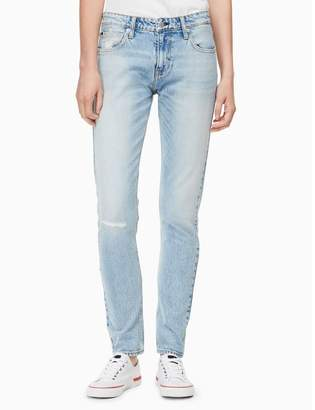 Calvin Klein slim mid rise light wash jeans