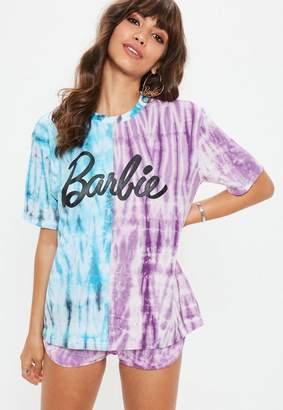 Missguided Barbie x Purple Blue Colour Block Tie Dye T Shirt