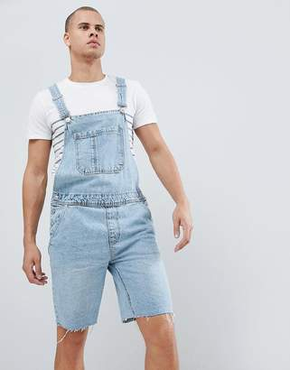 Bershka Denim Overall Shorts In Light Blue