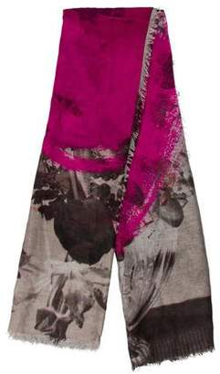 Christopher Kane Floral Print Scallop-Trimmed Scarf