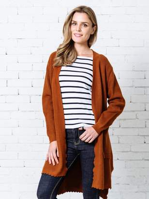 Goodnight Macaroon 'Ivey' Scalloped Hem and Pocket Open Cardigan ( 4 Colors )