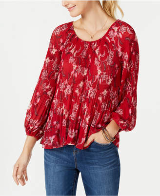 Style&Co. Style & Co Petite Pleated Peasant Top