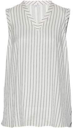 Brunello Cucinelli Ruffled Organza-Paneled Striped Silk Top