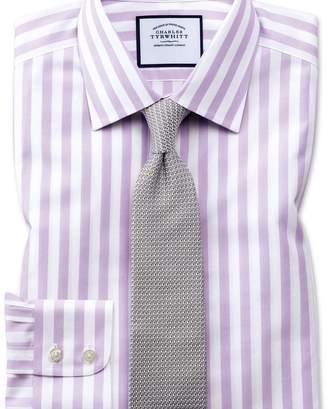 Charles Tyrwhitt Slim fit non-iron purple wide bengal stripe shirt