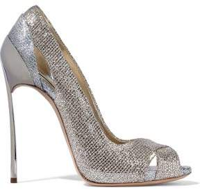 Casadei Cutout Two-tone Glittered Metallic Woven Pumps