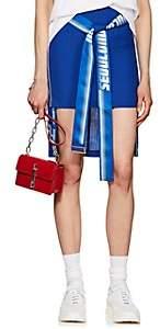 D-ANTIDOTE Women's Wool-Blend Belted High-Low Miniskirt - Blue