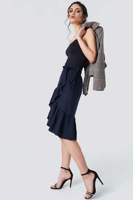 Na Kd Boho Wrap Over Flounce Linen Look Skirt Dark Blue