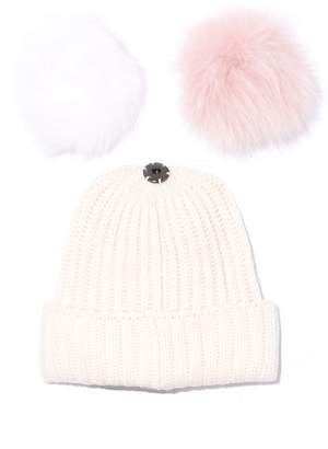 Yves Salomon Knit Hat with Pompon in Blanc