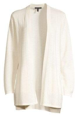 Eileen Fisher Seersucker Silk & Organic Cotton Cardigan Sweater