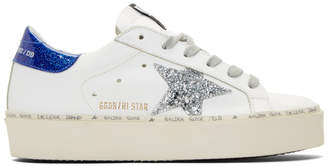 Golden Goose White and Blue Glitter Hi-Star Sneakers