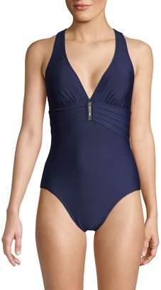 Calvin Klein One-Piece V-Neck Swimsuit