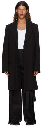Ann Demeulemeester Black Wool Trench Coat