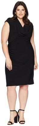 Adrianna Papell Plus Size Matte Jersey Cowl Neck Drape Women's Dress
